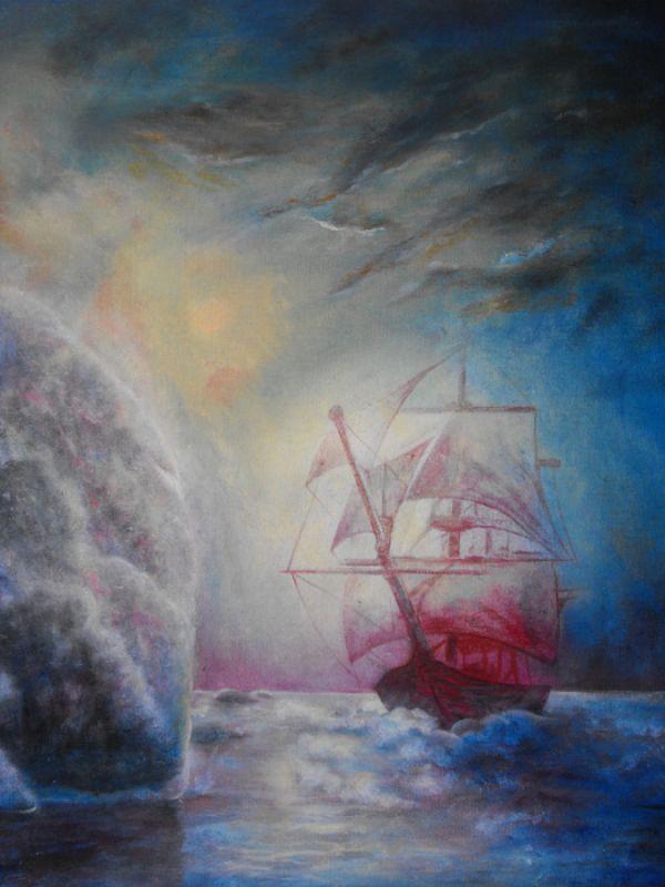 157-Schiff-und-Felsen-Ol