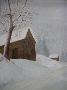 033-Hutte-im-Schnee-Ol
